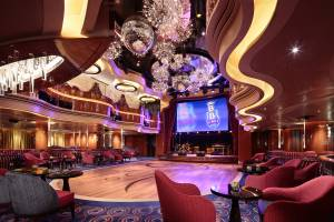 The Queen's Lounge on deck 2 of the Koningsdam hosts the eight-piece B.B. King's All-Stars Band.