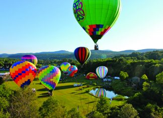 Hot air balloon festival at Stoweflake Mountain Resort in Vermont.