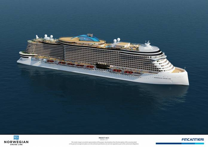 A rendering of project 8651, one of four new ships inNorwegian Cruise Line Holdings Ltd.'snext generation of ships.