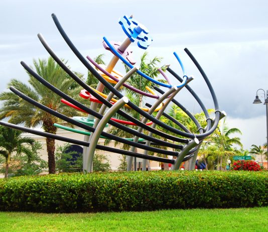 Modern sculpture at Legacy Place in Palm Beach Gardens. (Photo credit: Discover The Palm Beaches)