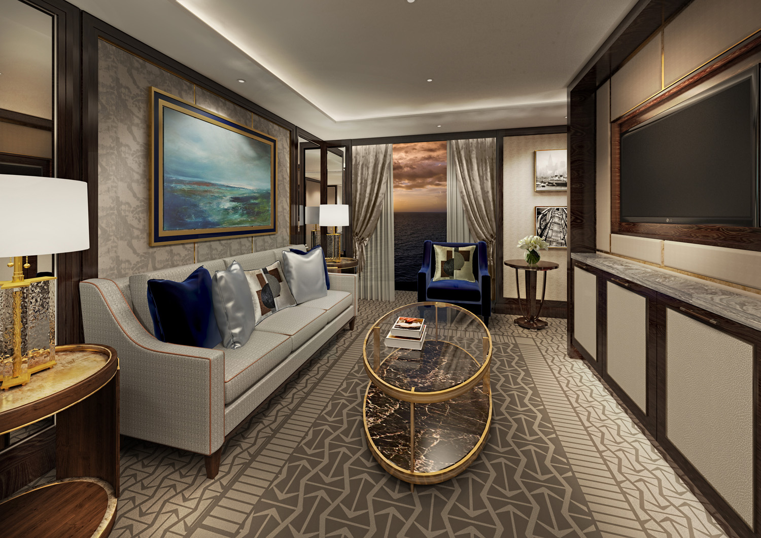 A rendering of a Penthouse Suite lounge.