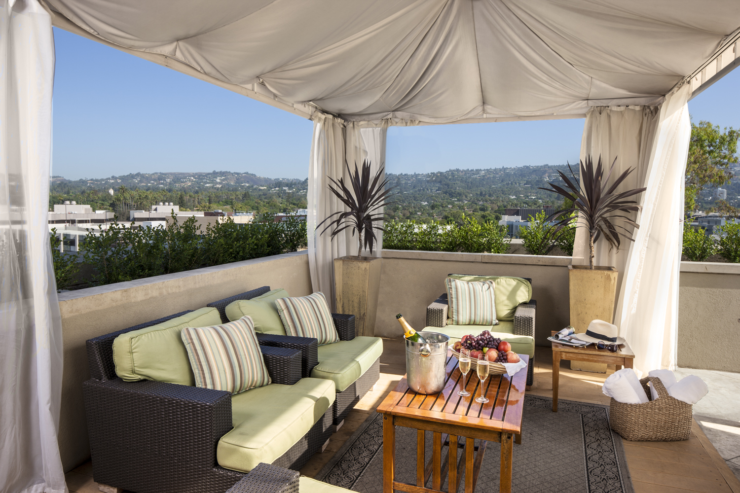 Pool cabana at Viceroy L'Ermitage Beverly Hills.
