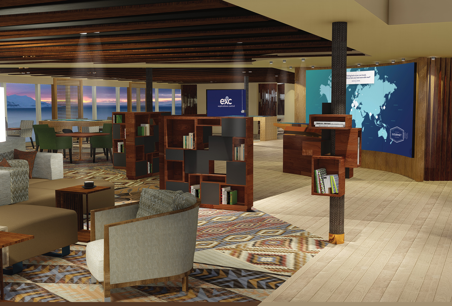 A rendering of The Library in Explorations Central (EXC).