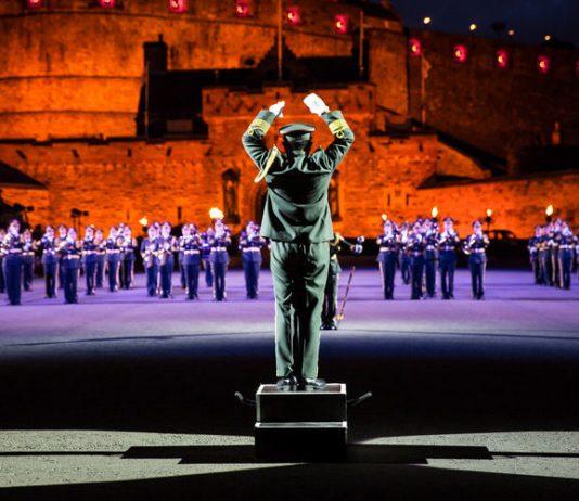 The Royal Edinburgh Military Tattoo performing at Edinburgh Castle in Scotland. (Photo credit: Visit Scotland/Kenny Lam)