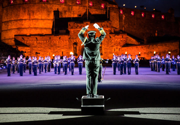 The Royal Edinburgh Military Tattoo performing at Edinburgh Castle in Scotland. (Photo credit: Visit Scotland/Kenny Lam)