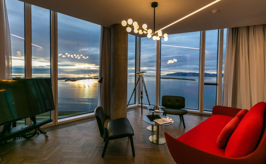 A guestroom at the Tower Suites Reykjavik in Iceland.