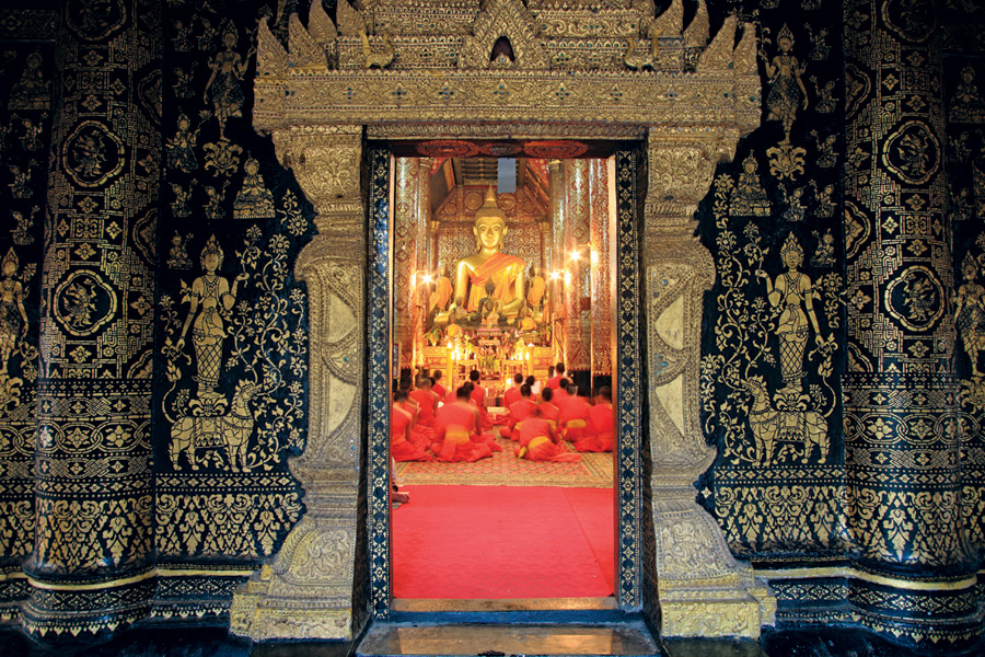 Wat Xieng Thong, a Buddhist temple, in Laos.
