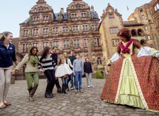Adventures by Disney'sRhine River Cruise includes a visit to thefamous storybook Heidelberg Castle in Germany.