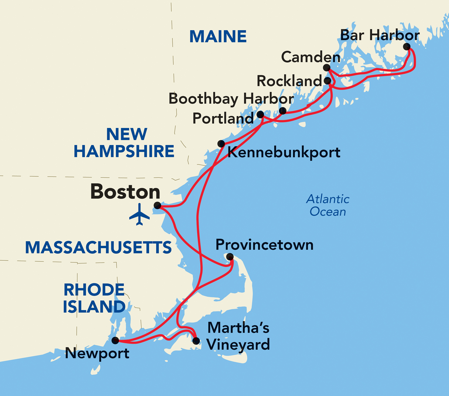 A map of the new Grand New England itinerary route out of Boston.