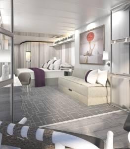 A rendering of theEdge Stateroom with Infinite Veranda.
