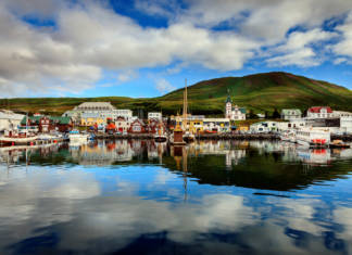 Husavik Harbor in Northern Iceland.