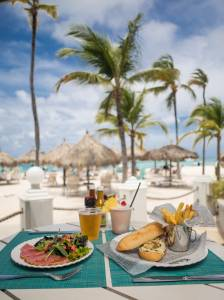 Poolside eats at the Hilton Aruba.