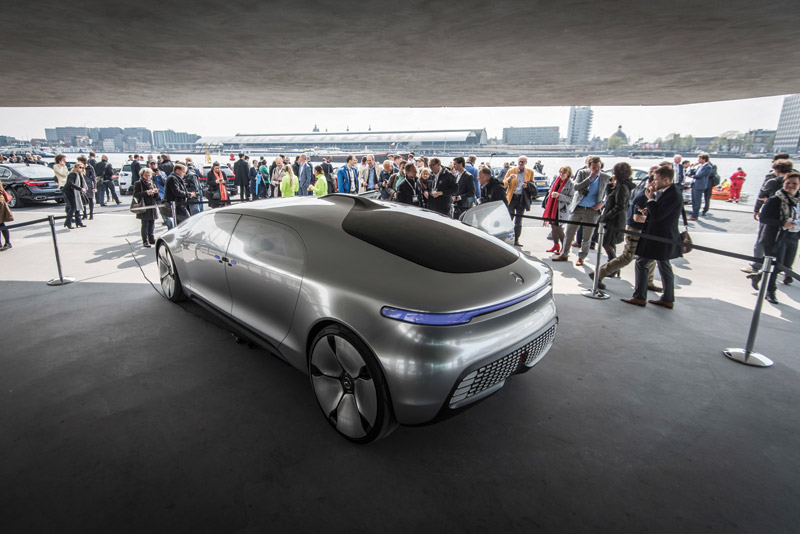 The Mercedes-Benz F 015 Luxury in Motion research car is displayed during the EU Conference 2016 Amsterdam, The Netherlands.