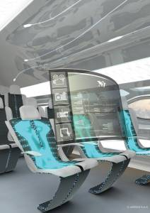 "The future by Airbus - Smart Tech Zone: Morphing seats can harvest passenger's body heat to power aircraft systems such as holographic pop-up pods as shown here in the Airbus Concept Cabin ""Smart Tech Zone."""