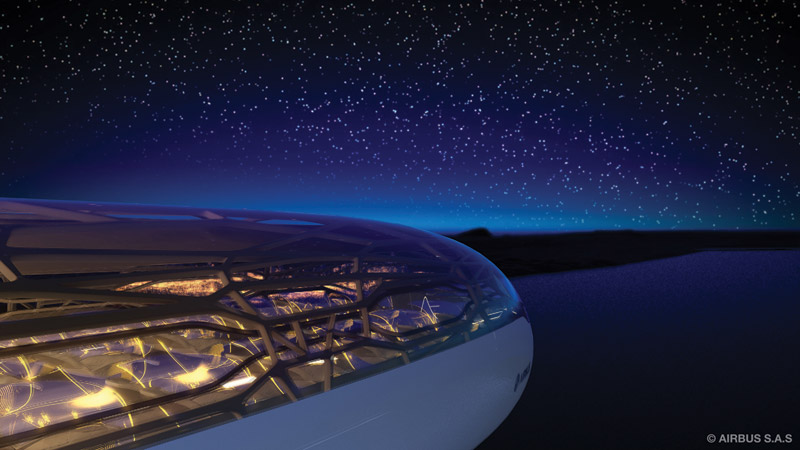The future by Airbus - Passengers in 2050 can sit back and enjoy the night sky when traveling to destinations due to bionic structure and interactive membrane of the Airbus Concept Cabin.