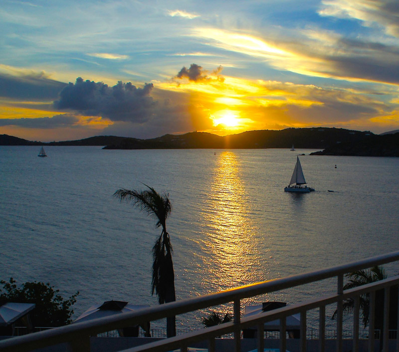 U.S. Virgin Islands sun set from the Frenchman's Reef & Morning Star Marriott Beach Resort in St. Thomas. (Photo credit: Ed Wetschler)