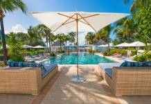 The pool at Valentines Resort & Marina in Harbour Island, Bahamas.