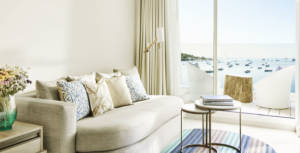 Nobu Hotel Ibiza Bay features 152 Ibizan-style rooms and suites complete with floor-to-ceiling windows and open terraces.
