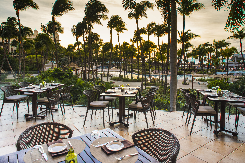 Open-air dining at the Hilton Aruba.