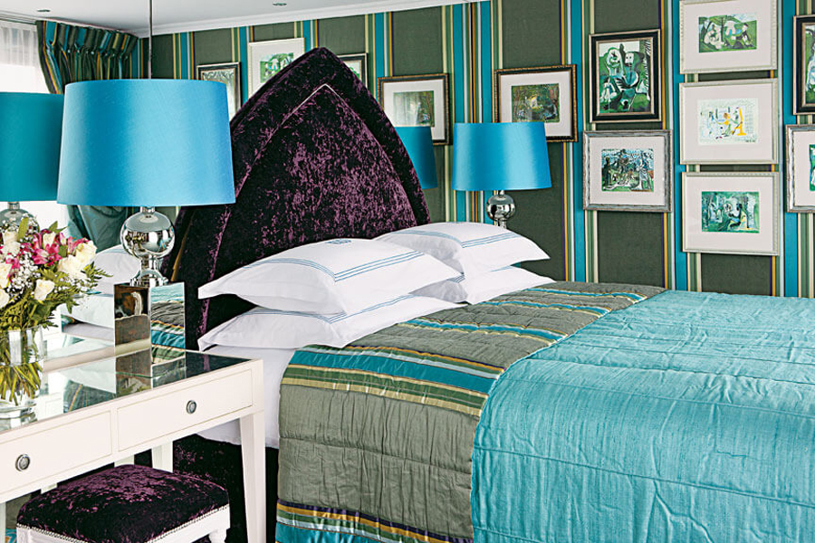 A rendering of a bedroom onU by Uniworld'sThe A ship.