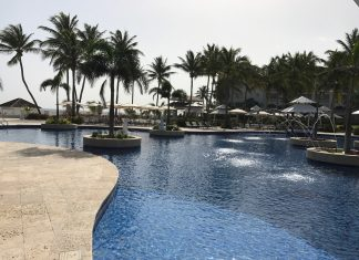 One of many pools on the sprawling oceanfront campus of the two resorts.