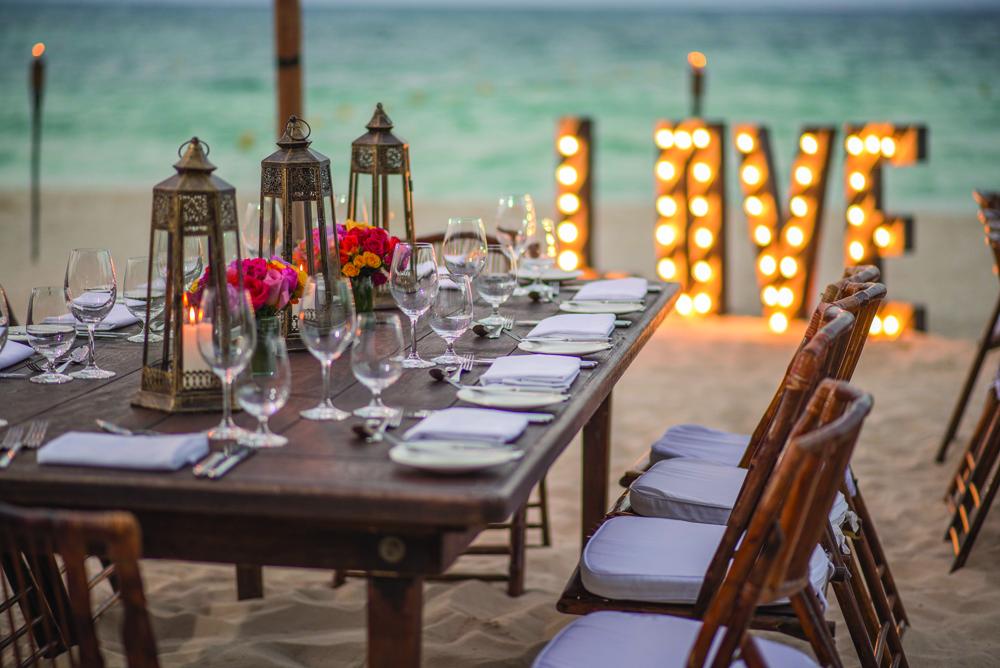 Wedding set-up at Grand Hyatt Playa del Carmen in Mexico.