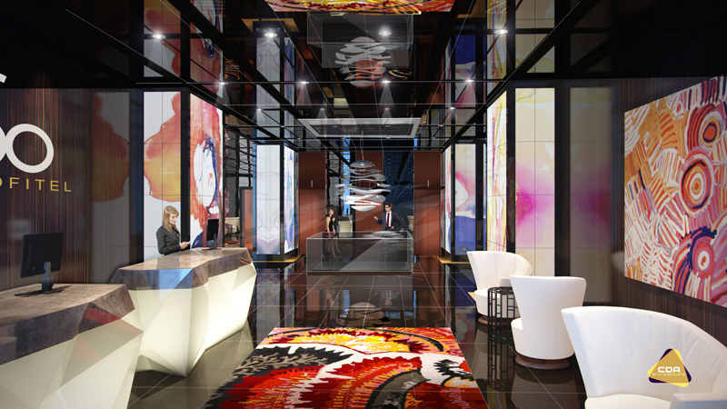 An artist impression of the lobby at Sofitel So Auckland.
