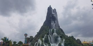 The towering Krakatau water and fire volcano sits in the middle of the park.