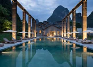 The pool at the Alila Yangshuo hotel in Guilin, China was transformed from a sugarcane dock.