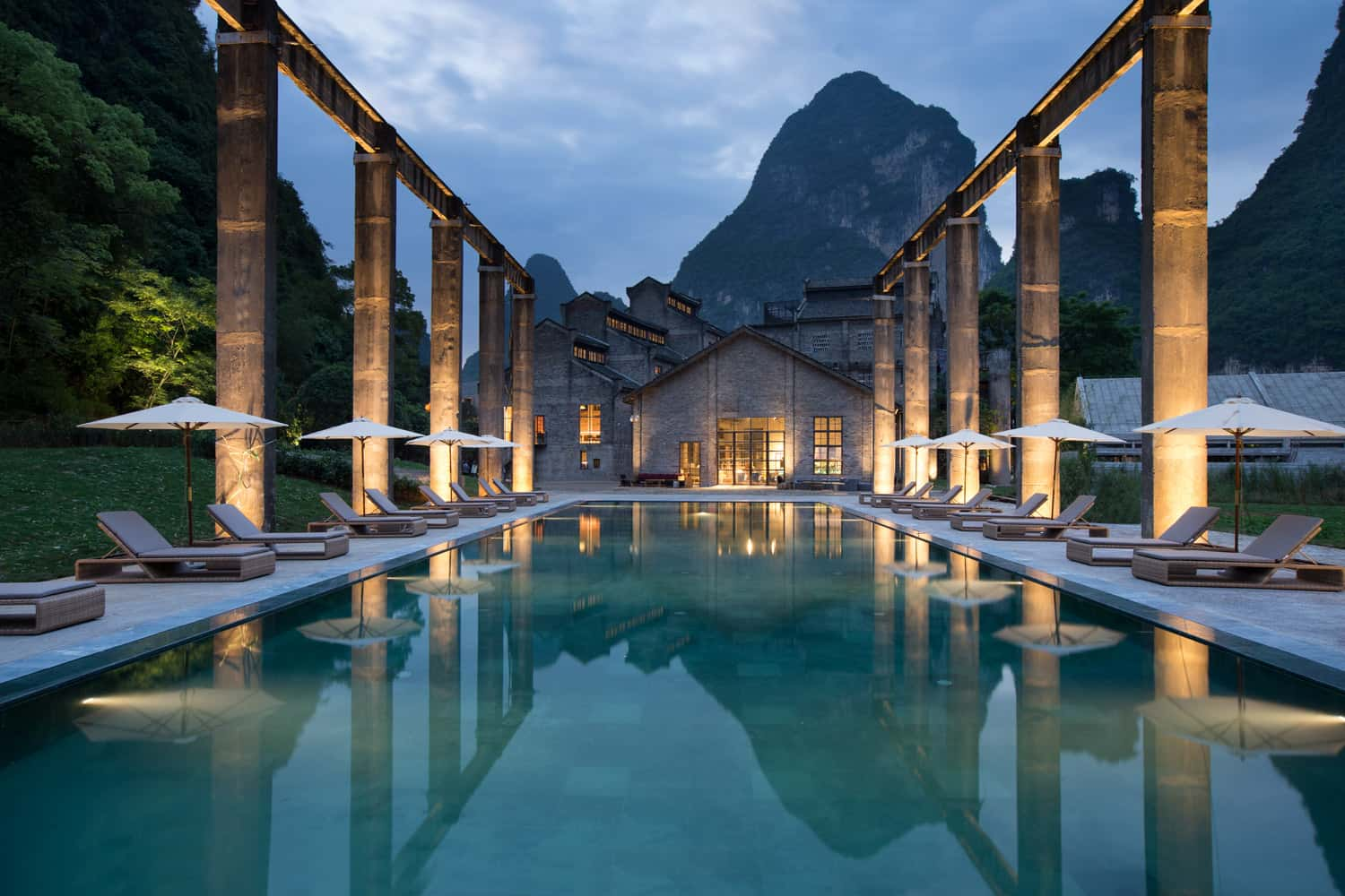 The Pool At Alila Yangshuo Hotel In Guilin China Was Transformed From A Sugarcane
