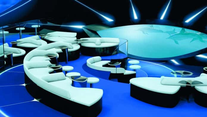Rendering of Pennant's new underwater lounge. (Photo courtesy of Ponant.)