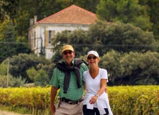 Burgundy-Walking-Couple