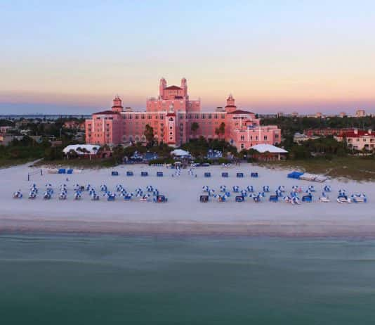An aerial view of the Don CeSar hotel in St. Pete Beach.