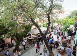 Views of Espanola Way from a balcony at El Paseo Hotel.
