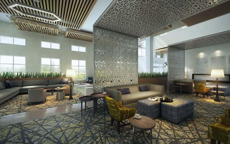 Embassy Suites by Hilton San Antonio Brooks Hotel & Spa lobby.