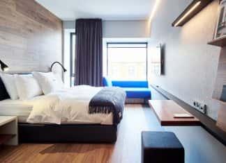 A guestroom atIon City Hotel inReykjavik.