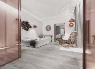 A rendering of a guestroom atLe Domaine Misincu in Cap Corsica.