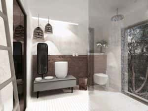 A rendering of a bathroom at Le Domaine Misincu.
