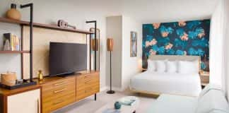 A guestroom at The Laylow, an Autograph Collection hotel in Waikiki.