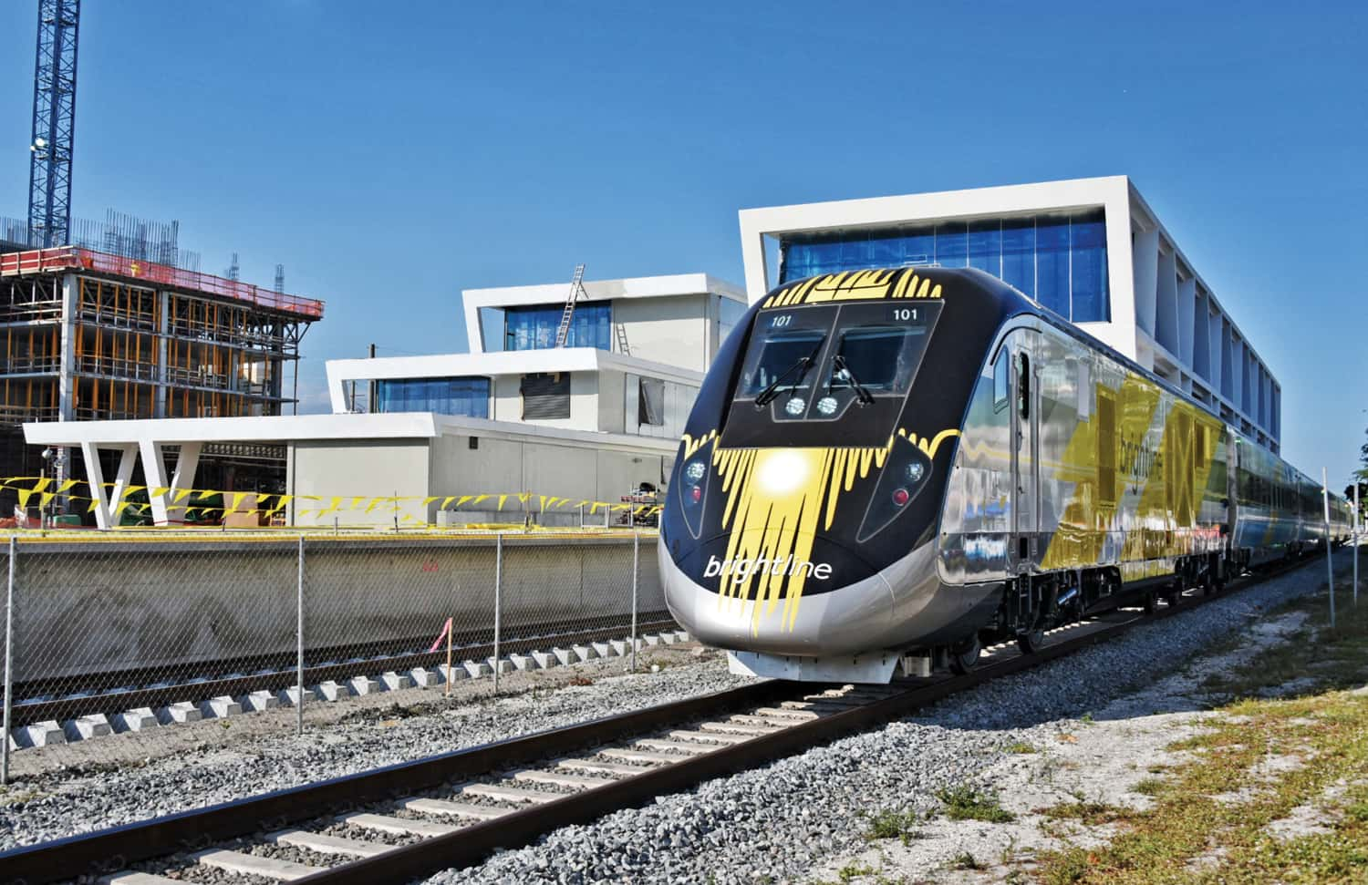 A Brightline train at the West Palm Beach station.