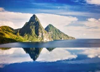 The Pitons From Jade Mountain. (Photo credit:Saint Lucia Tourist Board)