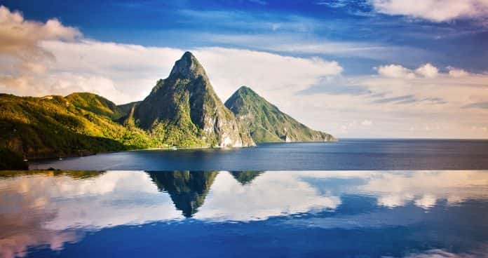 The Pitons From Jade Mountain. (Photo credit: Saint Lucia Tourist Board)