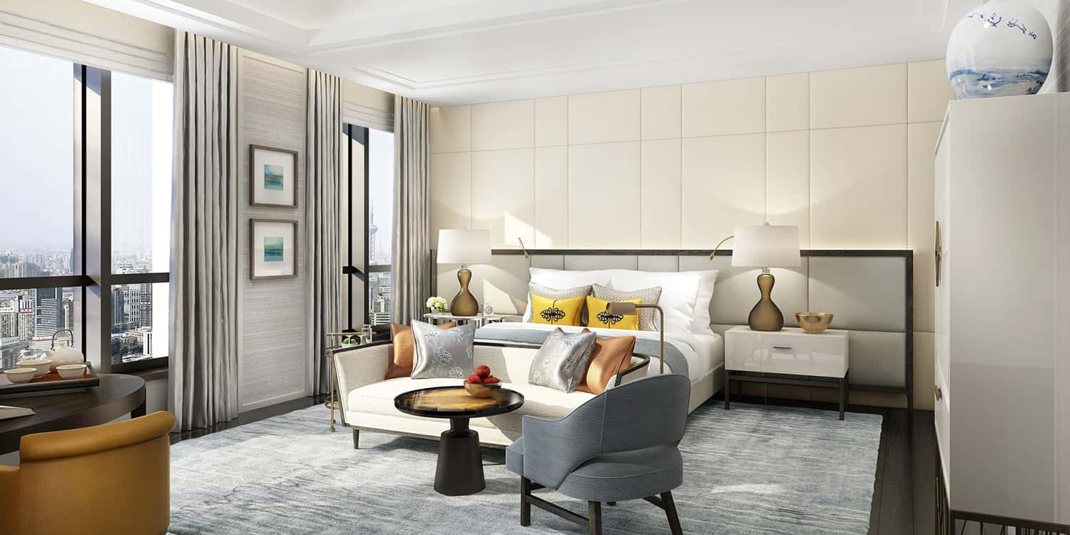 A rendering of guestroom at The St. Regis Shanghai Jingan in China.
