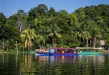 A boating excursion on Lake Peten Itza in Guatemala.