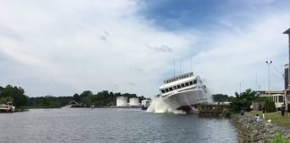 The 175-passenger American Constitution has been successfully launched.