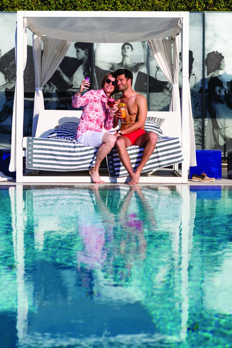 Poolside in Monaco.