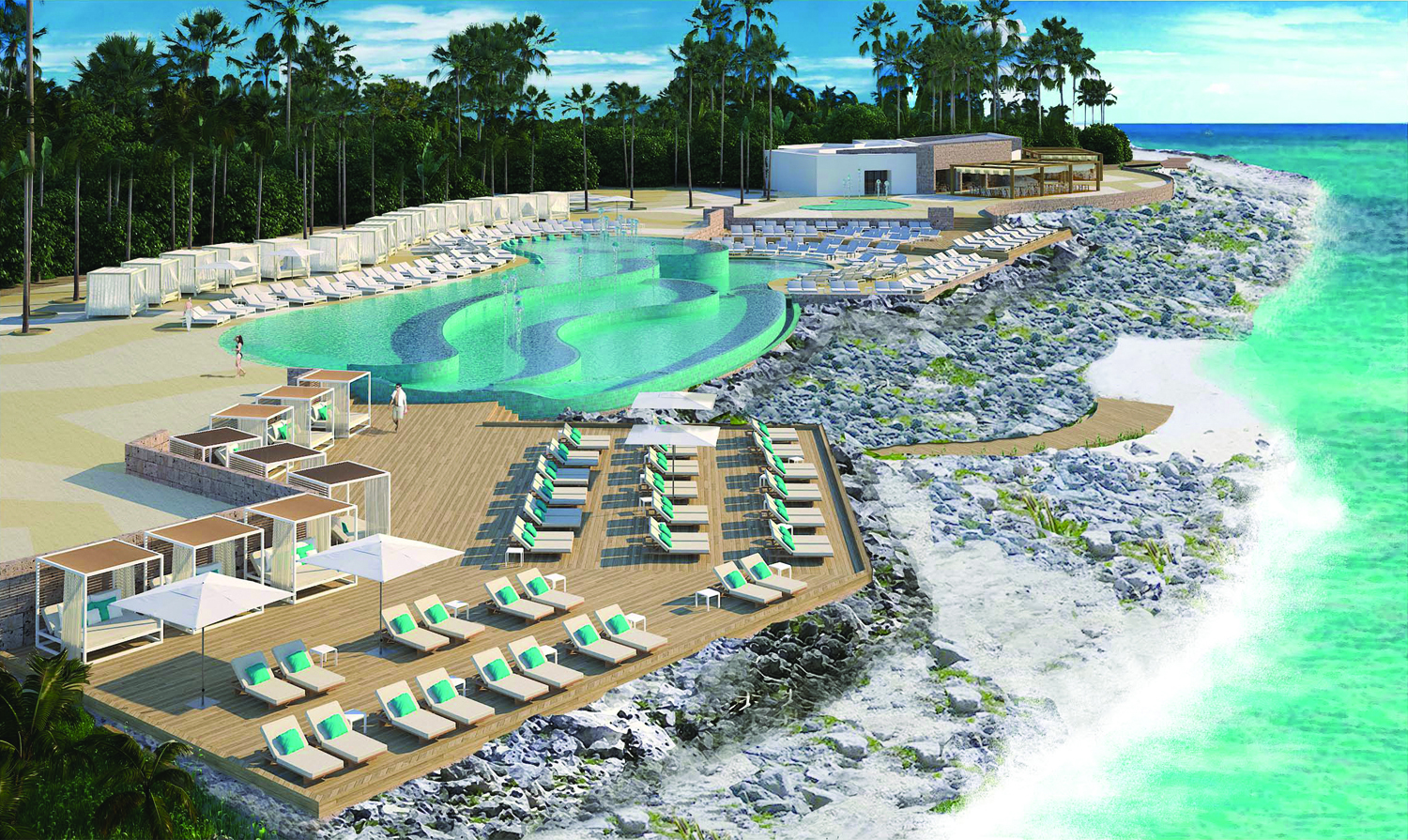 Rendering of the pool area at TRS Yucatan.