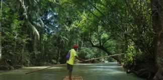 Our affable guide led us on a scenic raft ride down the Martha Brae River and even let me steer!