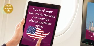Qatar Airways lifts ban on electronic devices.