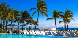 Guests can enjoy this pool and ocean views at B Ocean Resort for just $1 on their birthday. (Photo courtesy of B Hotels and Resorts.)